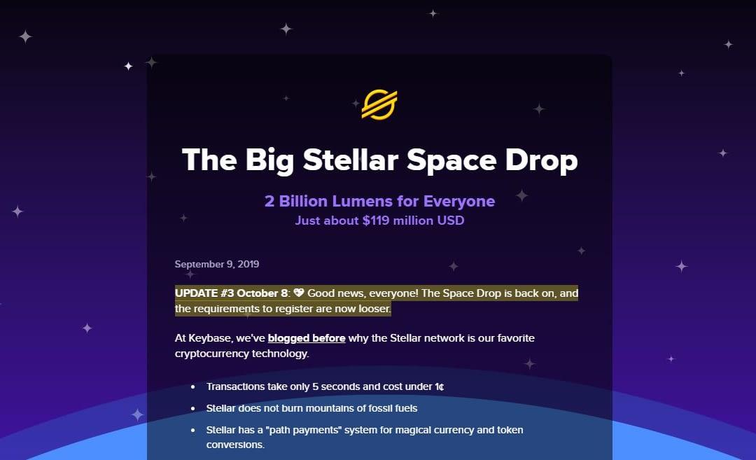 Stellar XML darmowe krypto co miesiąc od Keybase