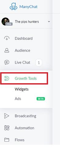 manychat growth tool menu